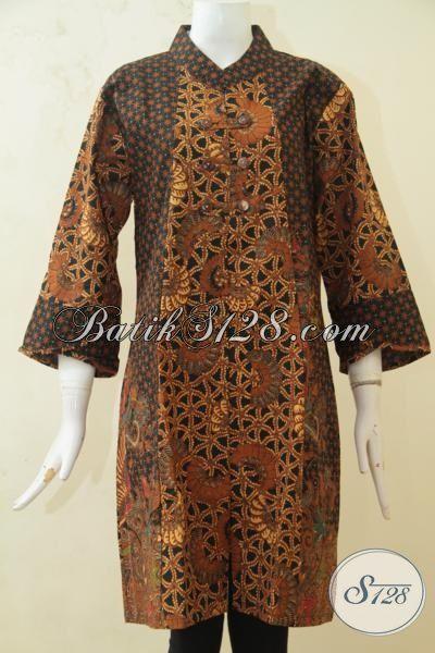Busana Batik Dress Berbahan Halus Dan Modis, Pakaian Batik Lengan Tiga Perempat, Batik Klasik Tampil Elegan Dan Anggun [DR3252BT-XL]