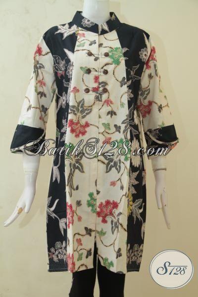 Busana Pesta Model Dress 2015, Baju Batik Wanita Masa Kini Untuk Tampil Cantik Bertubi-Tubi, Baju Batik Motif Bunga Warna Hitam Kombinasi Cream [DR3255BT-M]