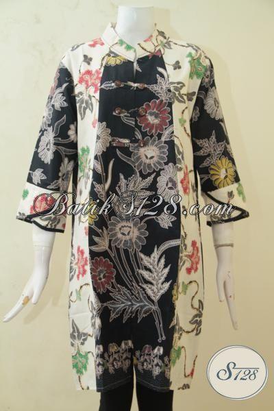 Busana Kerja Batik Wanita Masa Kini, Baju Batik Dress Motif Bunga, Pakaian Batik Oriental Desain Paling Trendy [DR3256BT-M]