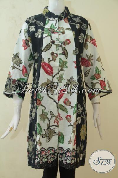 Batik Wanita Modern Model Kerah Shanghai, Pakaian Batik Istimewa Kombinasi Tulis Kwalitas Halus Motif Bunga, Batik Modern Kombinasi Dua Motif [DR3257BT-L]