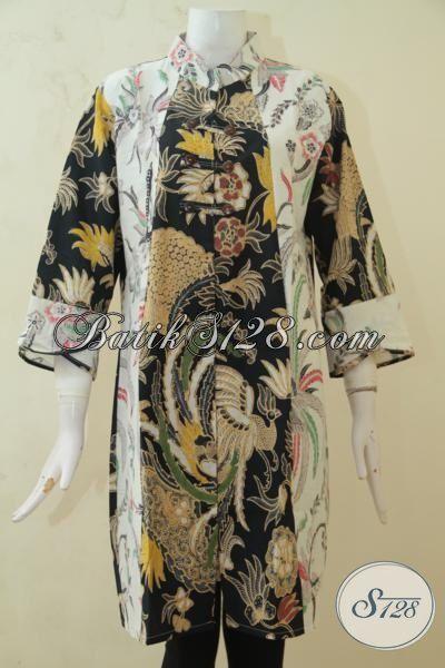 Baju Batik Dress Paling Di Cari Wanita Saat Ini, Busana Kerja Batik Desain Oriental Berbahan Batik solo Kombinasi Tulis Halus Dan Adem Nyaman Di Pakai [DR3260BT-L]