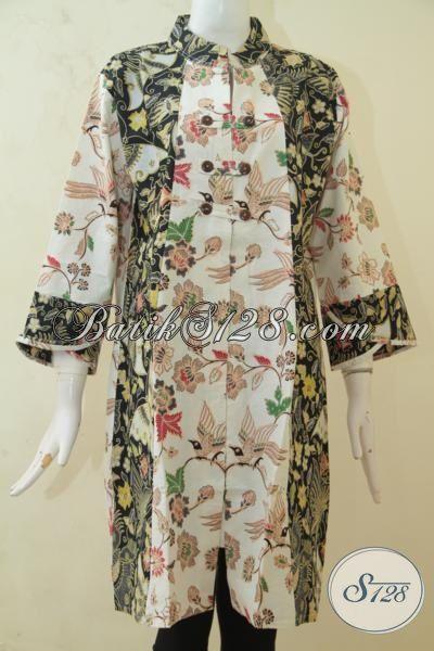 Dress Batik Dua Motif Model Panjang Lengan Tiga Perempat, Baju Batik Istimewa Kombinasi Tulis Mewah Dan Murah, Size XL