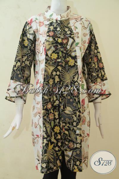 Baju Kerja Batik Dua Warna Dua Motif, Dress Batik Kombinasi Tulis Desain Modern Meningkatkan Kwalitas Penampilan Perempuan Karir, Size XL