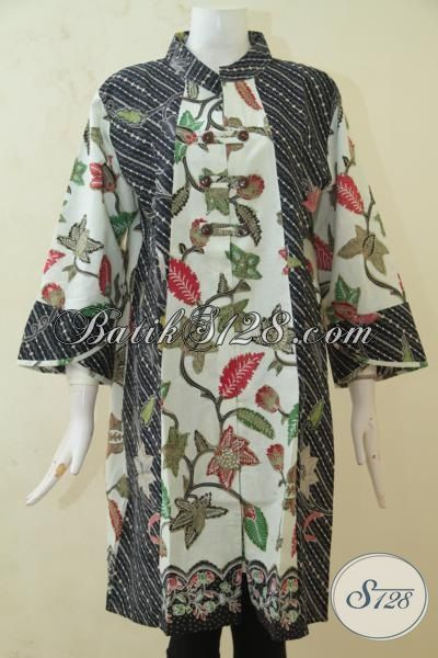 Dress Batik Wanita Keren Sekali, Baju Batik Modern Dua Motif Untuk Kerja, Baju Batik Kombinasi Tulis Pilihan Lengkap [DR3263BT-XXL]