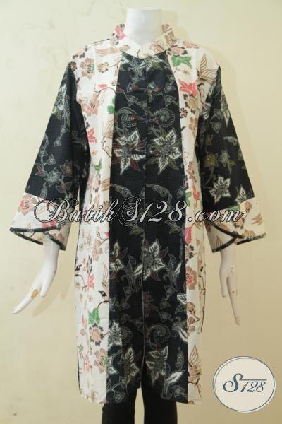 Baju Kerja Wanita Masa Kini, Blus Batik Desain Mewah Berpadu Motif Dan Warna Yang Paling Keren, Batik Modern Kombinasi Tulis Size XXL