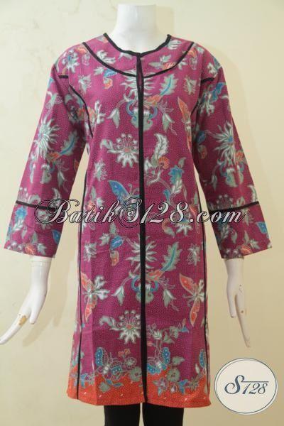 Dress Batik Wanita Karir, Baju Batik Printing Desain Berkelas Dengan Aksen Hitam Semakin Keren, Baju Batik XL Asli Buatan Solo [DR3267P-XL]