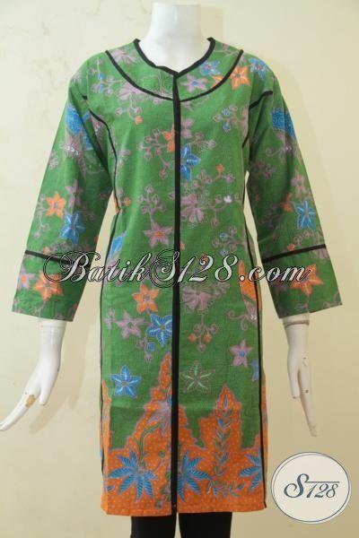 Model Terbaru Dress Batik Wanita Muda, Baju Batik Halus Proses Printing, Batik Trendy Warna Hijau Kombinasi Orange Pas Buat Jalan-Jalan, Size XL