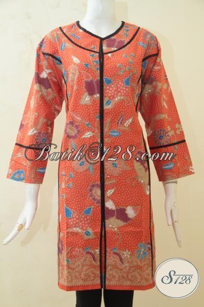 Dress Batik Orange Motif Bunga Berpadu Aksen Hitam Nan Elegan, Batik Warna Cerah Proses Print Wanita Makin Terlihat Luar Biasa, Size XL