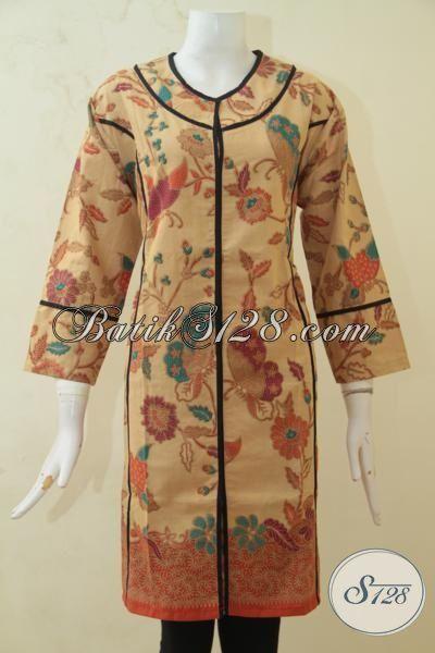 Baju Batik Printing Paling Halus, Busana Batik Cream Motif Bunga Aksen Hitam, Pakaian Batik Modern Untuk Kerja Dan Pesta [DR3270PL-XL]
