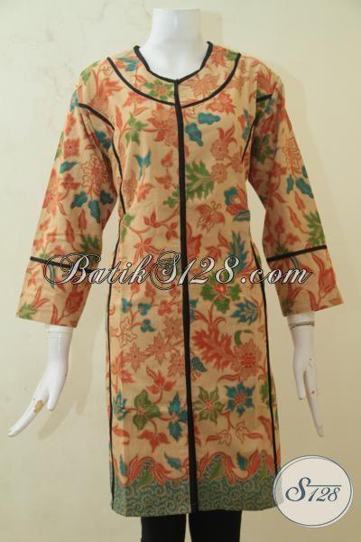 Sedia Pakaian Kerja Batik Motif Bunga, Dress Batik Desain Mewah Bahan Halus Proses Printing Buatan Solo [DR3271PL-XL]