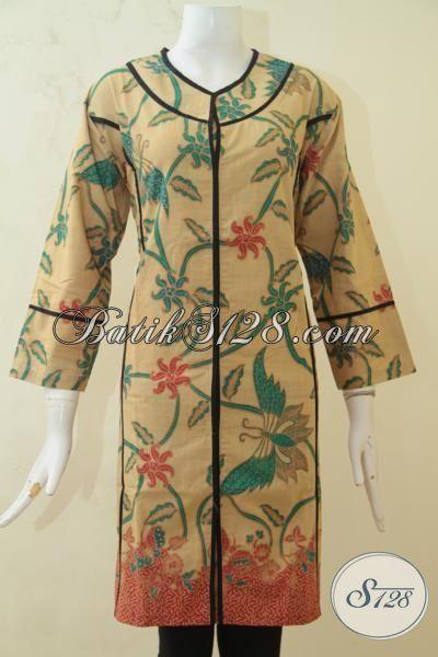 Agen Batik Modern Khas Solo, Sedia Dress Batik Printing Halus Motif Bunga Desain Mewah Kesukaan Wanita Muda, Baju Batik Masa Kini Cewek Bisa Terlihat Stylist, Size XL
