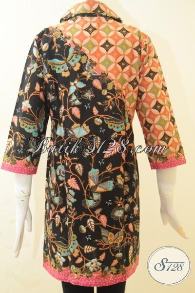 Dress Batik Printing Dual Motif Keren Kwalitas Halus, Baju Batik Masa Kini Kwalitas Halus Desain Mewah Dan Berkela, Size S – M – L