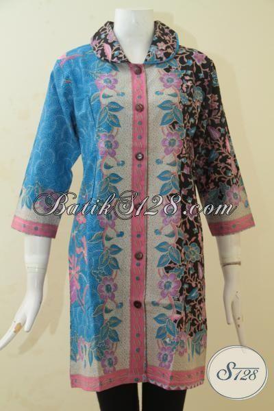 Batik Baju Kerja Lengan Tiga Perempat, Dress Batik Halus Proses Printing Desain Mewah Berpadu Motif Keren Dan Unik, Size M