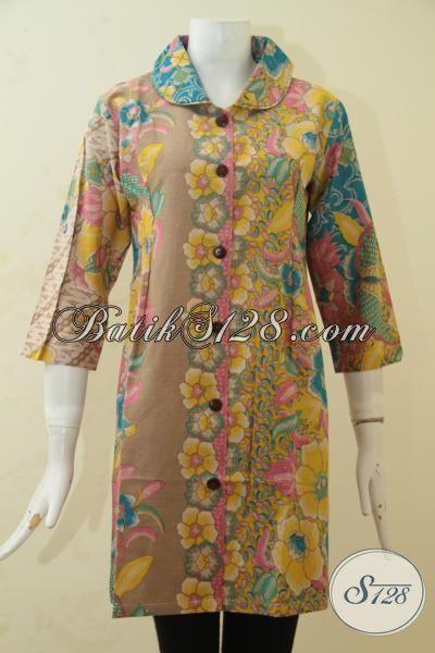 Toko Online Batik Terlengkap Jual Dress Batik Online Kwalitas Halus Proses Print, Baju Kerja Batik Masa Kini Cewek Terlihat Cantik Memikat [DR3443P-M]