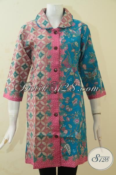 Online Shop Busana Batik Wanita, Baju Dress Batik Kawula Muda Masa Kini Desain Gaul Berpadu Kombiasi Dua Motif  Yang Keren Abis, Size M