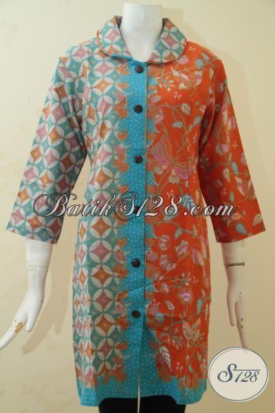 Batik Dress Modis Dan Fashionable, Busana Batik Wanita Dewasa Tampil Cantik Maksimal, Berbahan Batik Print Halus Asli Solo, Size L