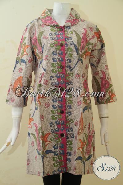Busana Batik Wanita Terbaru Dengan Desain Yang Ciamik Dan Bahan Yang Halus, Baju Dress Batik Printing Berkelas Harga Terjangkau, Size S