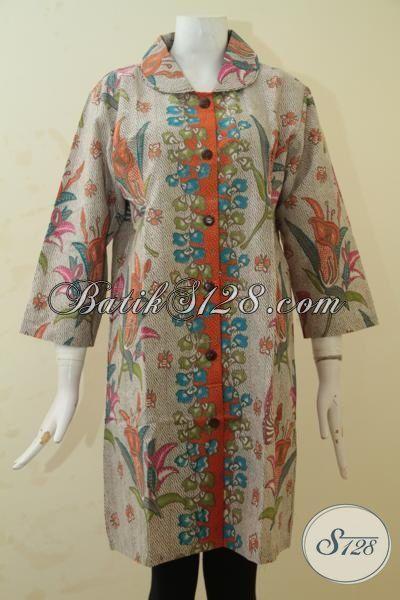 Produk Dress Batik Wanita Kantoran Model Paling Baru, Baju Batik Trendy Membuat Cewek Gemuk Terlihat Luar Biasa, Proses Pinting Halus [DR3454P-XXL]