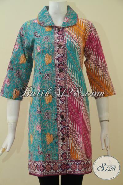 Pakaian Batik Seragam Kerja Model Terkini Buatan Solo, Blus Batik Istimewa Berbahan Halus Cap Tulis Berpadu Motif Kombinasi Yang Mewah Dan Elegan, Size S