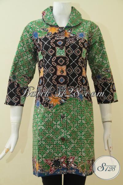 Busana Kerja Batik Jawa Tengah, Baju Batik Modis Keren Dan Istimewa Proses Cap Tulis, Pakaian Batik Wanita Untuk Terlihat Anggun, Size M