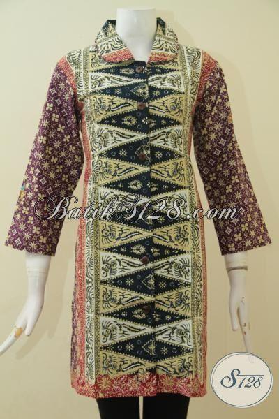 Toko Baju Wanita Online, Sedia Dress Batik Klasik Modern Model Mewah Berbahan Halus Proses Cap Tulis Bikin Penampilan Semakin Stylist, Size M
