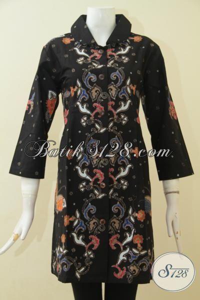 Dress Batik Hitam Motif Unik Nan Elegan, Busana Batik Istimewa Model Terkini Proses Cap Tulis Penunjang Penampilan Perempuan Modern, Size L