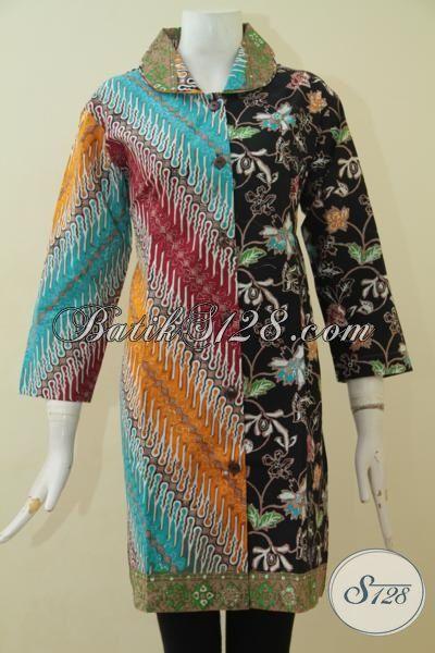 Baju Batik Dress Spesial Motif Parang Bunga, Pakaian Kerja Batik Perempuan Dewasa Size XL, Busana Batik Cap Tulis Cocok Untuk Acara Formal