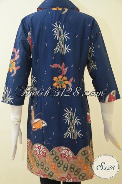 Toko Baju Batik Online Sedia Dress Batik Modis Mewah Dan Istimewa, Busana Batik Elegan Dua Motif Desain Berkelas Yang Di Sukai Wanita Karir, Size M