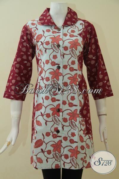 Baju Dress Batik Cap Tulis Warna Merah Kombinasi Putih