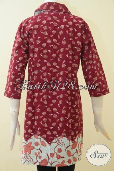 Batik Dress Cap Tulis Trendy Model Paling Baru, Baju Kerja Batik Jawa Halus Motif Bagus Tampil Lebih Elegan, Size M – L