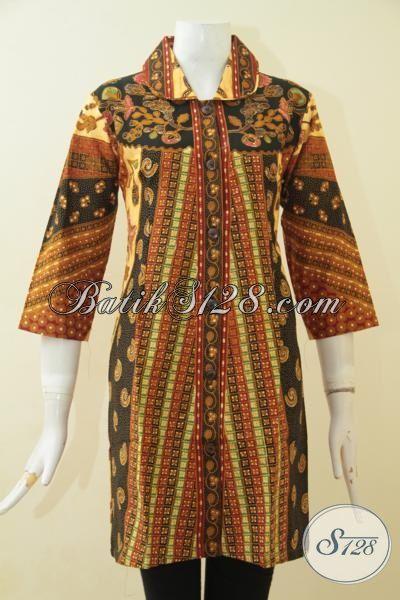 Pakaian Dress Batik Klasik Dengan Model Terbaru Yang Fashionable Dan Mewah, Busana Batik Jawa Etnik Proses Kombinasi Tulis Kwalitas Istimewa Ukuran M – L