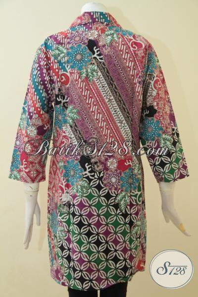 Baju Batik Cap Tulis Spesial Untuk Wanita Dewasa, Busana Dress Batik Ukuran XL Motif Modern Penunjang Penampilan Wanita Lebih Luar Biasa [DR3636CT-XL]
