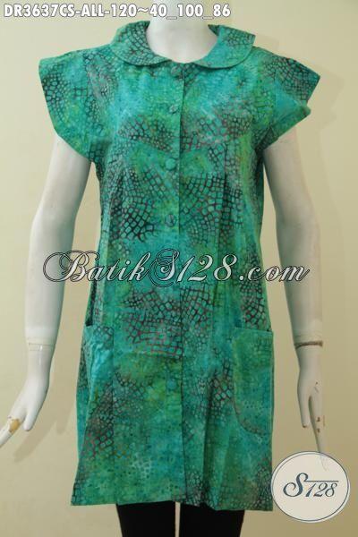 Dress Batik Modern Tanpa Lengan Warna Hijau Motif Unik, Pakaian Batik Gaul Proses Cap Smoke Buat Remaja Putri Tampil Modis Dan Keren