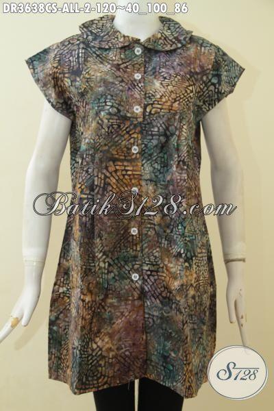 Baju Batik Warna Gradasi Proses Cap Smoke, Dress Batik Keren Desain Terbaru Yang Bikin Cewek Makin Modis Dan Kece [DR3638CS-All Size]