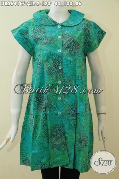 Baju Batik Modern Desain Keren Buat Perempuan Tampil Makin Keren, Baju Dress Cap Smoke Bahan Adem Desain Khas Kawula Muda