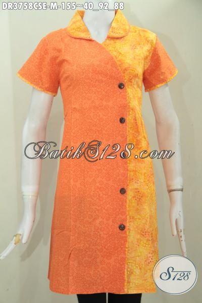 Baju Batik Cap Smoke Wanita Muda Masa Kini, Produk Dress Batik Lengan Pendek Dua Motif Kombinasi Orange Dan Kuning Kwalitas Istimewa [DR3758CSE-M]