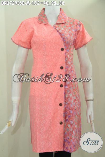 Dress Batik Palig Keren, Hadir Dengan Warna Pastel Berbadu Motif Gradasi Proses Cap Smoke, Baju Batik Wanita Muda Untuk Tampil Mempesona, Size M