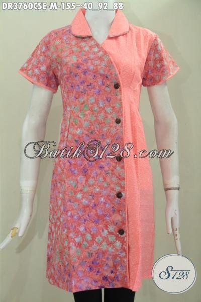 Pakaian Batik Wanita Muda Dan Remaja Putri Proses Cap Smoke, Baju Batik Dua Motif Desain Berkelas Bikin Cewek Nampak Anggn Dan Feminim, Size M