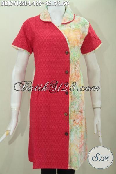Baju Batik Kerja Kombinasi Warna Cerah Berbahan Katun Dan Embos
