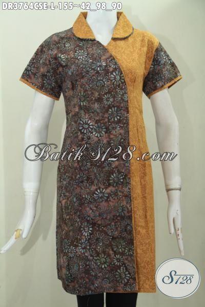 Jual Online Dress Batik Model Terkini Kombinasi Dua Motif Warna Pagi Sore, Busana Batik Santai Cocok Buat Hangouts Proses Cap Smoke Bahan Embos [DR3764CSE-L]