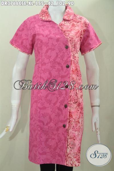 Jual Online Batik Dress Lengan Pendek Model Terkini Berbahan Katun Dan Embos, Busana Batik Pesta Kwalitas Mewah Harga Terjangkau Proses Cap Smoke [DR3766CSE-XL]