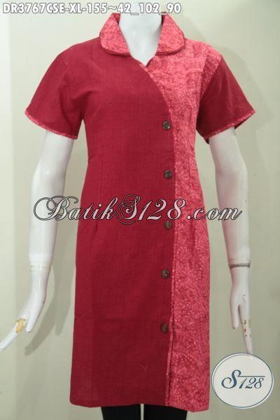 Baju Batik Trendy Warna Merah Polos Kombinasi Motif, Busana Dress Batik Keren Model Terbaru Bahan Katun Dan Embos Proses Cap Smoke Wanita Terlihat Lebih Anggun, Size XL