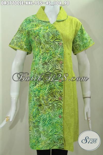 Jual Dress Batik Warna Hijau Muda Motif Unik Dan Trendy, Busana Batik Jawa Cap Smoke Ukuran Jumbo Pas Banget Buat Cewek Gemuk, Size XXL