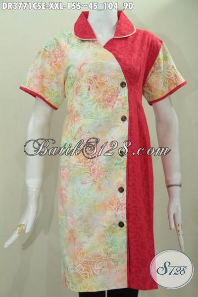 Baju Dress Batik Jumbo Warna Gradasi Berpadu Merah Kain Embos, Busana Batik Cap Smoke Buatan Solo Desain Terkini Yang Paling Banyak Di Cari, Size XXL