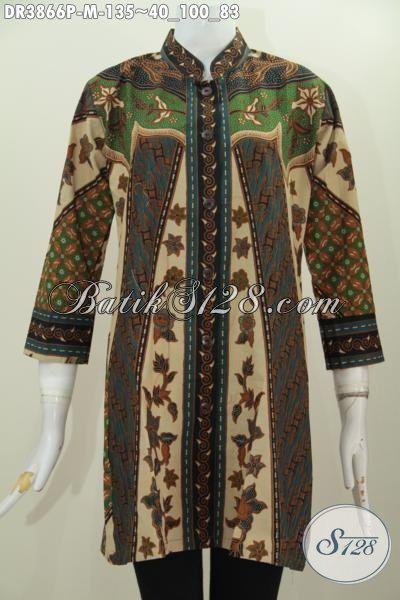 Busana Batik Perempuan Karir Size M, Baju Batik Wanita Muda Kantoran Model Formal Motif Sinaran Proses Print Tampil Modis Dan Cantik