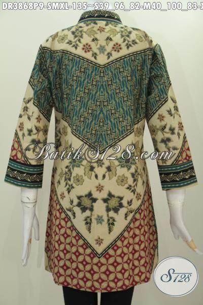 Aneka Produk Baju Dress Batik Kerah Shanghai Motif Sinaran, Baju Batik Solo Model Formal Membuat Wanita Terlihat Berkharisma, Size S – M – XL