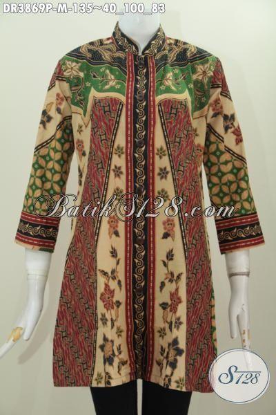 Dress Batik Printing Motif Klasik Sinaran, Baju Batik Seragam kerja Wanita Karir Desain Formal Kerah Shanghai Lebih Modis Dan Mewah, Cocok Juga Buat Kondangan, Size M