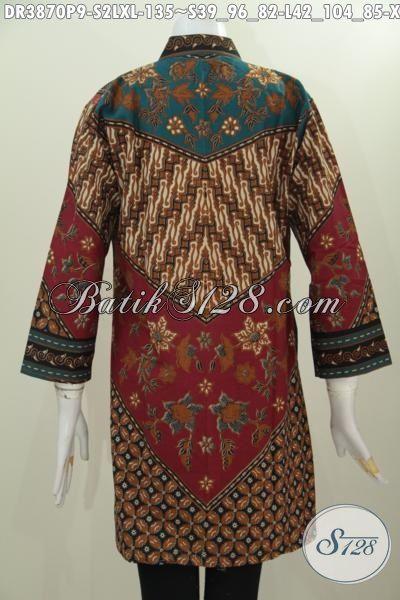 Baju Dress Klasik Motif Milo, Busana Formal Bahan Batik Printing Model Kerah Shanghai Buat Wanita Muda Dan Dewasa Tampil Beda Dan Gaya, Size S – L – XL