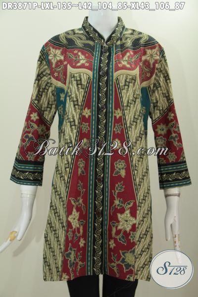 Dress Batik Model Paling Berkelas, Baju Batik Kerah Shanghai Modis Buat Kerja Dan Keren Buat Ke Pesta, Bahan Halus Motif Milo Tampil Lebih Anggun [DR3871P-XL]