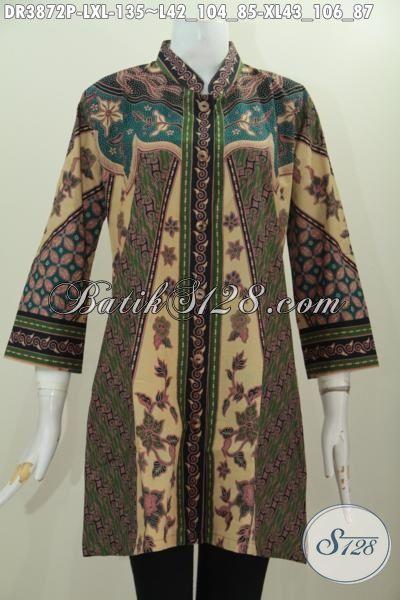 Dress Batik Seragam Kera Wanita Kantoran Model Terbaru Kerah Shanghai, Baju Batik Elegan Motif Milo Proses Print Harga Terjangkau, Size L – XL